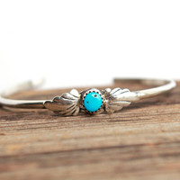 Vintage Sterling Silver Turquoise Cuff Bracelet - Native American Style Southwesten Jewelry / Dainty Wrist Band
