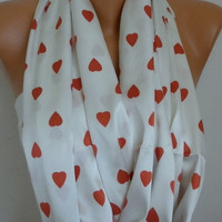 Heart Infinity Scarf Shawl Circle Scarf Loop Scarf  Gift - for her - White - Red Heart - Love -  fatwoman