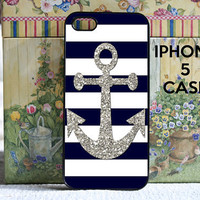 iPhone 5 case navy stripes with silver anchor  by DanazDesigns