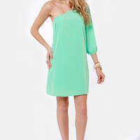 C'mon Get Happy One Shoulder Mint Green Dress