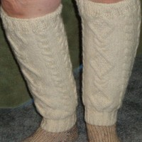 Wool Cable Knit Leg Warmers in Cream