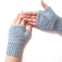 Knit Fingerless Gloves, Grey, Adult fingerless gloves, Wrist warmer, Winter gloves, winter gifts