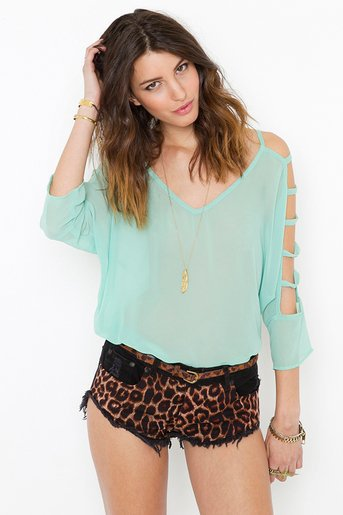 Chiffon Cutout Blouse - Mint in  What&#x27;s New at Nasty Gal