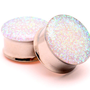 Embedded Pearl Glitter Plugs gauges - 00g, 7/16&quot;, 1/2, 9/16, 5/8, 3/4, 7/8, 1 inch