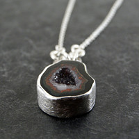 One of a Kind Geode Necklace in Sterling Silver by anatomi