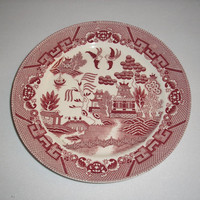 1921 to 1941 Pink Willow - Red Transferware Plate - Japan