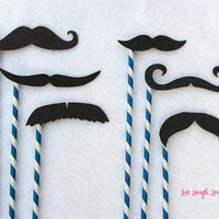 Mustaches on Paper Straw Set Photo Booth by livelaughlovelots