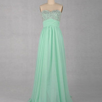 WowDresses — Gorgeous A-line Sweetheart Sleeveless Floor-length Chiffon Prom Dress with stunning Beadings