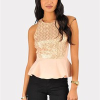 Sequin Party Peplum Top - Peach
