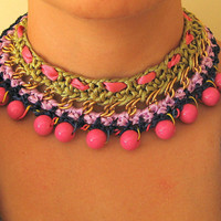 Colorful Chain and Braided Necklace Fuchsia,Green,Purple and Dark Blue