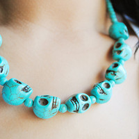 Turquoise Skull Necklace by theblackfeather