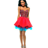 Red &amp; Blue Strapless Sequin Tulle Tutu Homecoming Dress - Unique Vintage - Cocktail, Pinup, Holiday &amp; Prom Dresses.