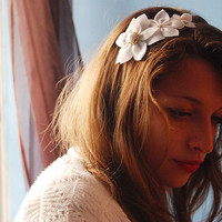 Felt flower headband with a vintage button bridal by urBunny
