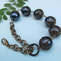 Blue Pearl Bracelet with Antiqued Brass Details by LunaTerra