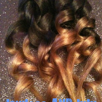 R U S T I C   auburn brunette /ombre / human hair extension/ clip-in hair wefts/  (6) hair extensions