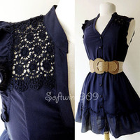 NEW Dark Blue Crochet Laced Yoke Button-Down Ruffle Trim Peasant BOHO Chic Dress