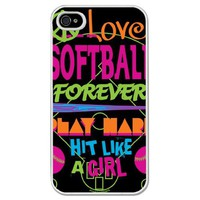 Amazon.com: Softball iPhone Case Hit Like a Girl Black Background (iPhone 4/4S): Cell Phones & Accessories