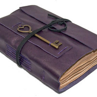 Purple Leather Journal with Heart Key Bookmark and Tea Stained Pages