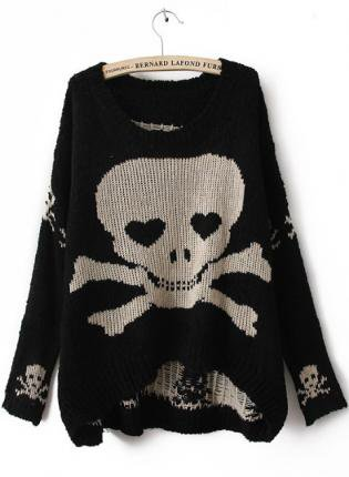Black Skull Print Pullovers Sweater S183