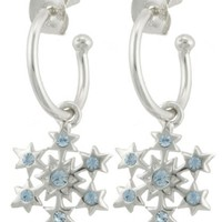 Sterling Silver Blue Crystal Snowflake Charm Hoop Earrings (0.4