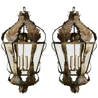 Pair of Italian Bronze Tole Leaf Lanterns
