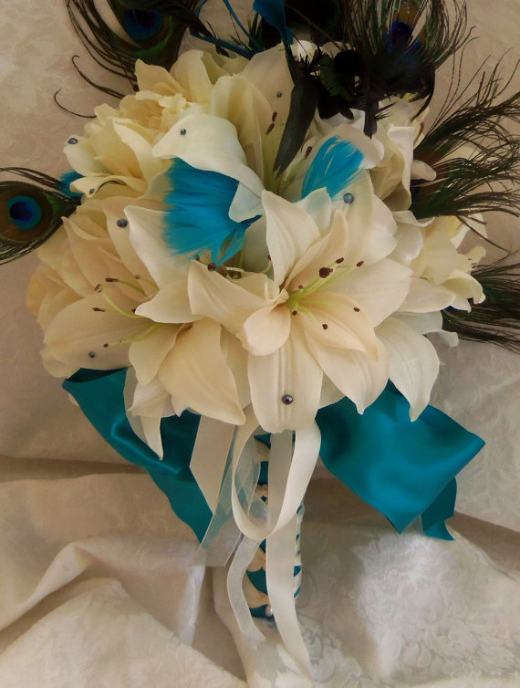 White Wedding Bouquets With Peacock Feathers : Peacock feather wedding bouquet white from mimis