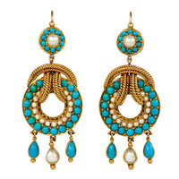 Antique Pearl, Gold and Turquoise Earrings