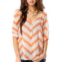 Forever Chiffon Zig Zag Top in Marmalade - ShopSosie.com