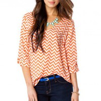 V Neck Zig Zag Blouse in Marmalade - ShopSosie.com