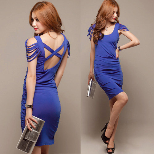 Womens Tassel Sleeveless Sexy Backless Stretch Ruched Cocktail Mini Dress