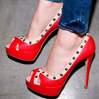 Korean Womens High Heels Platform Studded Peep Toe Sandals Pumps Shoes