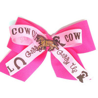 Girls Pink Cowgirl Hair bow, Horse button