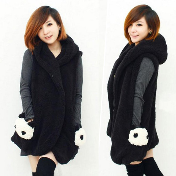 Warm Plush Coat Sleeveless Hoody Cardigan Lovely Panda Pockets Outerwear
