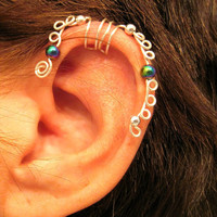 """No Piercing """"Sea Serpent"""" Ear Cartilage Cuff for Helix 1 Cuff  Lots of Color Choices"""