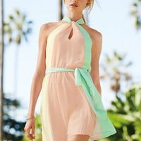 Colorblock Halter Dress