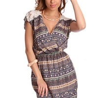 Navy Multi Printed V Neck Crochet Cap Sleeve Dress @ Amiclubwear sexy dresses,sexy dress,prom dress,summer dress,spring dress,prom gowns,teens dresses,sexy party wear,women's cocktail dresses,ball dresses,sun dresses,trendy dresses,sweater dresses,teen cl