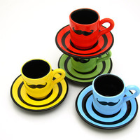 Mustache Moustache Espresso Cups and saucers set of by LennyMud