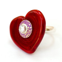 Valentine Glass Heart Bead Ring Handmade Lampwork Red Sterling Silver Jewelry Customize