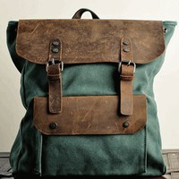 Backpack/ vintage backpack/messenger bag/ art retro canvas bag/leather