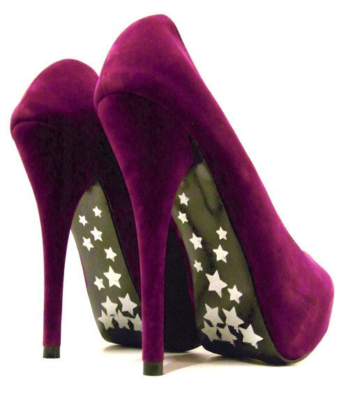 Purple Platform Pumps High Heel Shoes c75designs on Etsy
