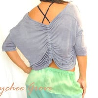 Cinched Back Tie Dye Knit Yoga Top NiteSkyBlue by LycheeGrove