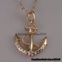 18K Rose Gold GP Anchor with Rein Rope Pendant Swarovski Crystal Necklace IN060A