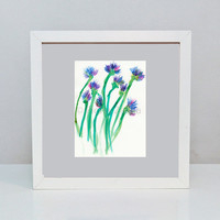 Abstract Spring Flowers Art Print 8x10&quot; / 20x25cm Nature Art Woodland Art Green, Purple, Blue, Magenta