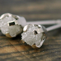 Rough Diamonds in 14k White Gold Earrings by Specimental on Etsy
