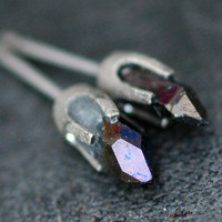 Little Cobalt Aura Quartz Points in Textured 14k by Specimental