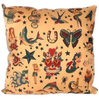 Tattoo Rockabilly Fabric For Pillow by AllegraB