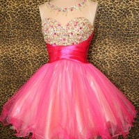 PINK PROM SHORT COCKTAIL PARTY EVENING MINI HOMECOMING BALL GOWN DRESS M 8/10