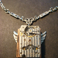 Steampunk Neo Victorian ELGIN Watch Movement LOCKET Necklace with Wings (882)