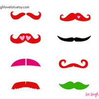 Valentine Fingerstache Mustache Temporary by livelaughlovelots
