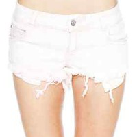 Brandy Meville Blush Pink/White Destroyed Denim Shorts